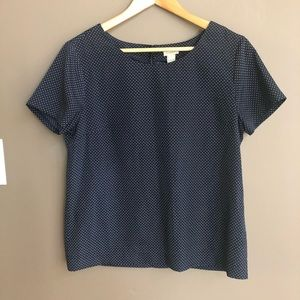 J Crew Navy Blue White Polka Dot Blouse Size Small